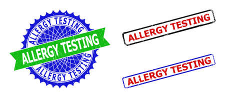 Bicolor ALLERGY TESTING seal stamps. Green and blue ALLERGY TESTING seal stamp with sharp rosette and ribbon elements. Rounded rough rectangular framed ALLERGY TESTING stamps in red, blue,