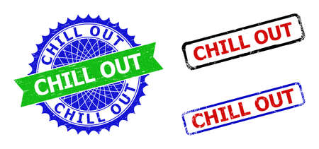 Bicolor CHILL OUT stamps. Green and blue CHILL OUT seal stamp with sharp rosette and ribbon. Rounded rough rectangular framed CHILL OUT seal stamps in red, blue, black colors, with unclean style. Vectores