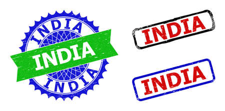 Bicolor INDIA seal stamps. Blue and green INDIA seal with sharp rosette and ribbon. Rounded rough rectangular framed INDIA seal stamps in red, blue, black colors, with distress surface.