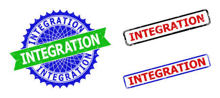 Bicolor INTEGRATION seal stamps. Blue and green INTEGRATION seal stamp with sharp rosette and ribbon elements. Rounded rough rectangular framed INTEGRATION seals in red, blue, black colors,