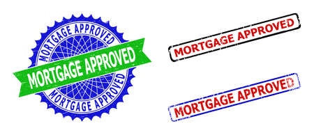 Bicolor MORTGAGE APPROVED seal stamps. Blue and green MORTGAGE APPROVED seal stamp with sharp rosette and ribbon. Rounded rough rectangular framed MORTGAGE APPROVED seal stamps in red, blue,