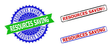 Bicolor RESOURCES SAVING stamps. Blue and green RESOURCES SAVING seal with sharp rosette and ribbon. Rounded rough rectangle framed RESOURCES SAVING seal stamps in red, blue, black colors, Ilustracja