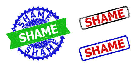 Bicolor SHAME seals. Green and blue SHAME watermark with sharp rosette and ribbon elements. Rounded rough rectangular framed SHAME seals in red, blue, black colors, with scratched style.
