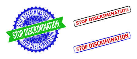 Bicolor STOP DISCRIMINATION stamps. Blue and green STOP DISCRIMINATION seal with sharp rosette and ribbon elements. Rounded rough rectangular framed STOP DISCRIMINATION stamps in red, blue,