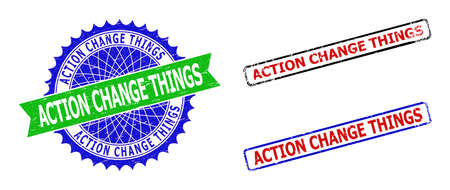 Bicolor ACTION CHANGE THINGS seal stamps. Blue and green ACTION CHANGE THINGS seal with sharp rosette and ribbon. Rounded rough rectangular framed ACTION CHANGE THINGS seal stamps in red, blue,