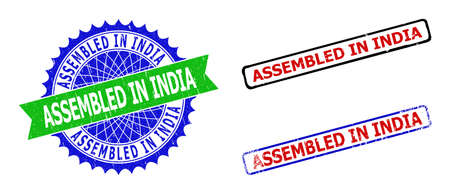 Bicolor ASSEMBLED IN INDIA stamps. Green and blue ASSEMBLED IN INDIA watermark with sharp rosette and ribbon elements.