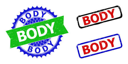 Bicolor BODY seal stamps. Blue and green BODY watermark with sharp rosette and ribbon. Rounded rough rectangular framed BODY seal stamps in red, blue, black colors, with corroded style.