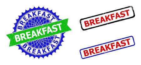 Bicolor BREAKFAST seal stamps. Green and blue BREAKFAST badge with sharp rosette and ribbon. Rounded rough rectangular framed BREAKFAST seal stamps in red, blue, black colors, with grunged surface.