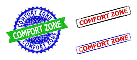Bicolor COMFORT ZONE seal stamps. Green and blue COMFORT ZONE seal stamp with sharp rosette and ribbon elements. Rounded rough rectangle framed COMFORT ZONE seal stamps in red, blue, black colors,