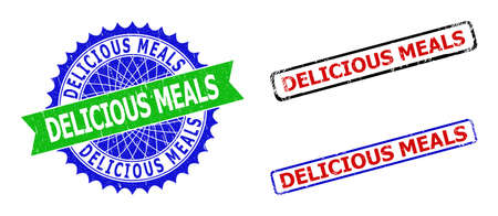 Bicolor DELICIOUS MEALS badges. Blue and green DELICIOUS MEALS seal stamp with sharp rosette and ribbon design elements. Rounded rough rectangular framed DELICIOUS MEALS seal stamps in red, blue,