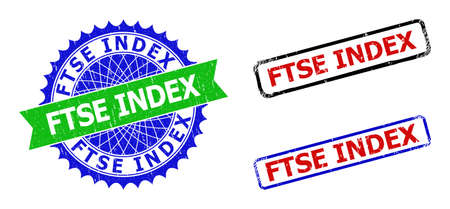Bicolor FTSE INDEX badges. Green and blue FTSE INDEX badge with sharp rosette and ribbon design elements. Rounded rough rectangle framed FTSE INDEX badges in red, blue, black colors,