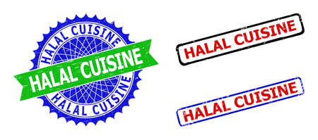 Bicolor HALAL CUISINE stamps. Green and blue HALAL CUISINE stamp with sharp rosette and ribbon design elements. Rounded rough rectangle framed HALAL CUISINE seal stamps in red, blue, black colors,