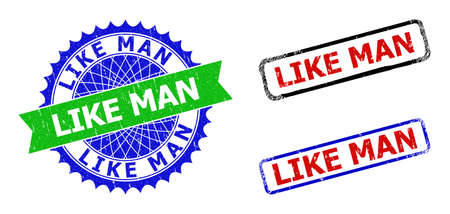 Bicolor LIKE MAN seal stamps. Green and blue LIKE MAN stamp with sharp rosette and ribbon. Rounded rough rectangle framed LIKE MAN seal stamps in red, blue, black colors, with grunge style.