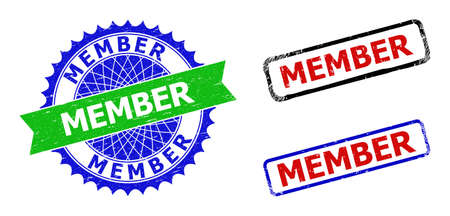 Bicolor MEMBER seal stamps. Blue and green MEMBER badge with sharp rosette and ribbon design elements. Rounded rough rectangular framed MEMBER stamps in red, blue, black colors, with grunged surface.
