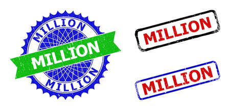 Bicolor MILLION seal stamps. Blue and green MILLION seal with sharp rosette and ribbon elements. Rounded rough rectangular framed MILLION stamps in red, blue, black colors, with corroded texture.
