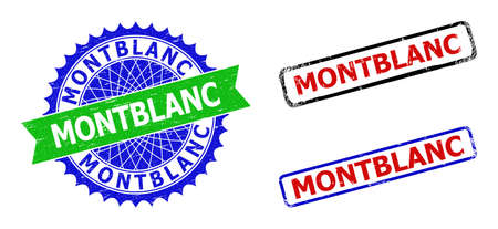Bicolor MONTBLANC badges. Green and blue MONTBLANC seal stamp with sharp rosette and ribbon design elements. Rounded rough rectangle framed MONTBLANC seal stamps in red, blue, black colors,