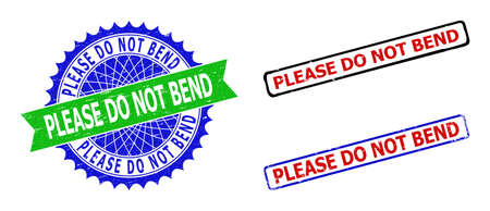 Bicolor PLEASE DO NOT BEND stamps. Green and blue PLEASE DO NOT BEND stamp with sharp rosette and ribbon elements. Rounded rough rectangular framed PLEASE DO NOT BEND stamps in red, blue,