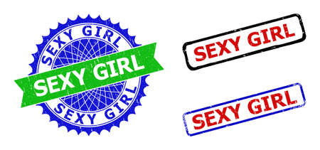 Bicolor SEXY GIRL stamps. Blue and green SEXY GIRL badge with sharp rosette and ribbon elements. Rounded rough rectangular framed SEXY GIRL seal stamps in red, blue, black colors,