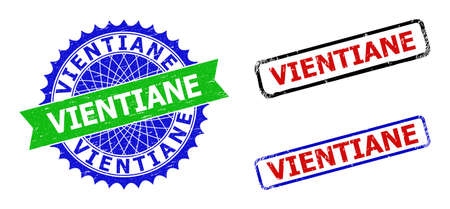 Bicolor VIENTIANE badges. Blue and green VIENTIANE seal stamp with sharp rosette and ribbon. Rounded rough rectangle framed VIENTIANE seal stamps in red, blue, black colors, with corroded style.