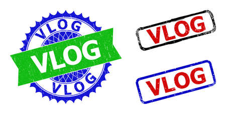 Bicolor VLOG seal stamps. Green and blue VLOG stamp with sharp rosette and ribbon elements. Rounded rough rectangular framed VLOG seal stamps in red, blue, black colors, with corroded style.