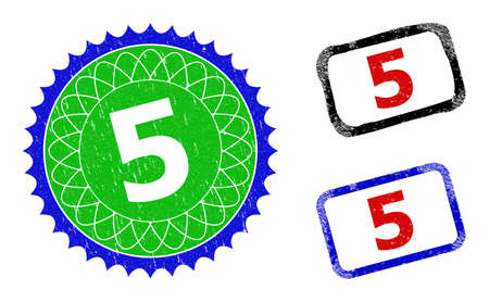 Bicolor 5 seal stamps. Green and blue 5 watermark with sharp rosette and ribbon design elements. Rounded rough rectangular framed 5 seal stamps in red, blue, black colors, with grunge surface.