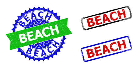 Bicolor BEACH stamps. Green and blue BEACH seal stamp with sharp rosette and ribbon design elements. Rounded rough rectangle framed BEACH seal stamps in red, blue, black colors, with unclean texture.