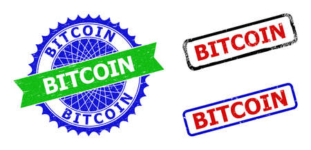 Bicolor BITCOIN seals. Green and blue BITCOIN seal stamp with sharp rosette and ribbon design elements. Rounded rough rectangle framed BITCOIN seal stamps in red, blue, black colors,