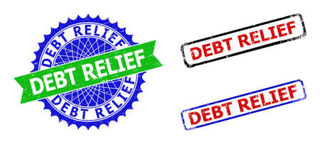 Bicolor DEBT RELIEF seals. Blue and green DEBT RELIEF badge with sharp rosette and ribbon elements. Rounded rough rectangle framed DEBT RELIEF seals in red, blue, black colors, with scratched style.