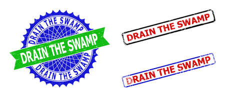 Bicolor DRAIN THE SWAMP seal stamps. Green and blue DRAIN THE SWAMP stamp with sharp rosette and ribbon design elements. Rounded rough rectangle framed DRAIN THE SWAMP seal stamps in red, blue,