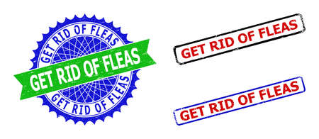 Bicolor GET RID OF FLEAS seal stamps. Blue and green GET RID OF FLEAS seal with sharp rosette and ribbon. Rounded rough rectangle framed GET RID OF FLEAS seal stamps in red, blue, black colors,