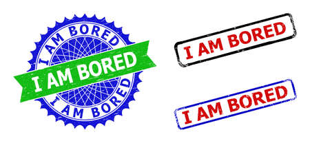 Bicolor I AM BORED stamps. Blue and green I AM BORED badge with sharp rosette and ribbon design elements. Rounded rough rectangle framed I AM BORED seal stamps in red, blue, black colors,