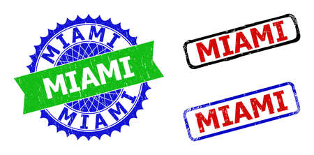Bicolor MIAMI badges. Blue and green MIAMI watermark with sharp rosette and ribbon. Rounded rough rectangular framed MIAMI badges in red, blue, black colors, with unclean texture.