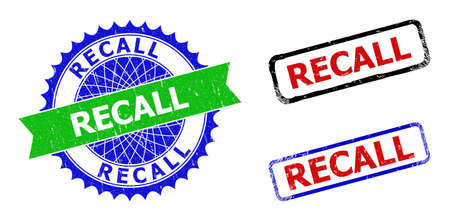 Bicolor RECALL badges. Blue and green RECALL stamp with sharp rosette and ribbon design elements. Rounded rough rectangle framed RECALL badges in red, blue, black colors, with unclean texture.
