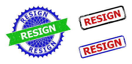 Bicolor RESIGN stamps. Blue and green RESIGN badge with sharp rosette and ribbon design elements. Rounded rough rectangle framed RESIGN seal stamps in red, blue, black colors, with grunged surface.
