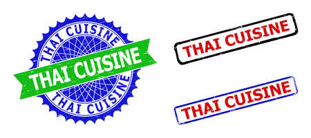 Bicolor THAI CUISINE seal stamps. Green and blue THAI CUISINE seal stamp with sharp rosette and ribbon elements. Rounded rough rectangle framed THAI CUISINE stamps in red, blue, black colors,