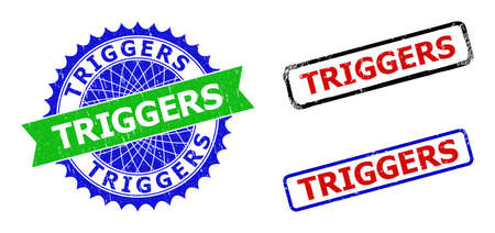 Bicolor TRIGGERS seal stamps. Blue and green TRIGGERS seal stamp with sharp rosette and ribbon design elements. Rounded rough rectangle framed TRIGGERS stamps in red, blue, black colors, 向量圖像