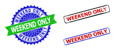 Bicolor WEEKEND ONLY seal stamps. Green and blue WEEKEND ONLY seal with sharp rosette and ribbon. Rounded rough rectangle framed WEEKEND ONLY stamps in red, blue, black colors, with corroded style.