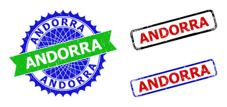 Bicolor ANDORRA seal stamps. Blue and green ANDORRA seal stamp with sharp rosette and ribbon. Rounded rough rectangular framed ANDORRA stamps in red, blue, black colors, with corroded style.