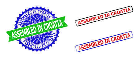 Bicolor ASSEMBLED IN CROATIA seal stamps. Green and blue ASSEMBLED IN CROATIA watermark with sharp rosette and ribbon. Rounded rough rectangular framed ASSEMBLED IN CROATIA seal stamps in red, blue,