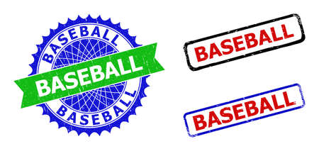 Bicolor BASEBALL badges. Green and blue BASEBALL seal stamp with sharp rosette and ribbon. Rounded rough rectangle framed BASEBALL seal stamps in red, blue, black colors, with corroded surface.