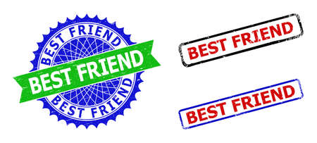 Bicolor BEST FRIEND seal stamps. Blue and green BEST FRIEND seal stamp with sharp rosette and ribbon. Rounded rough rectangle framed BEST FRIEND badges in red, blue, black colors,