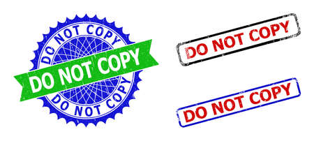 Bicolor DO NOT COPY seal stamps. Blue and green DO NOT COPY watermark with sharp rosette and ribbon elements. Rounded rough rectangle framed DO NOT COPY seal stamps in red, blue, black colors,