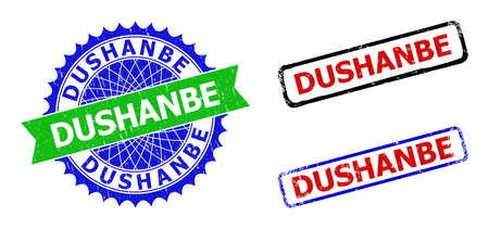 Bicolor DUSHANBE badges. Blue and green DUSHANBE badge with sharp rosette and ribbon elements. Rounded rough rectangular framed DUSHANBE badges in red, blue, black colors, with distress surface.
