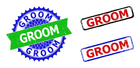 Bicolor GROOM stamps. Blue and green GROOM badge with sharp rosette and ribbon elements. Rounded rough rectangle framed GROOM seal stamps in red, blue, black colors, with corroded texture.