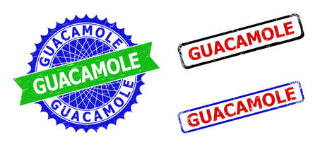 Bicolor GUACAMOLE seal stamps. Green and blue GUACAMOLE seal with sharp rosette and ribbon. Rounded rough rectangle framed GUACAMOLE badges in red, blue, black colors, with grunge texture.