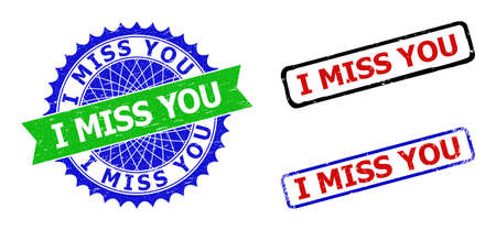 Bicolor I MISS YOU seal stamps. Green and blue I MISS YOU stamp with sharp rosette and ribbon design elements. Rounded rough rectangle framed I MISS YOU seal stamps in red, blue, black colors,