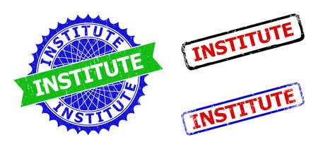 Bicolor INSTITUTE watermarks. Green and blue INSTITUTE badge with sharp rosette and ribbon elements. Rounded rough rectangular framed INSTITUTE watermarks in red, blue, black colors,