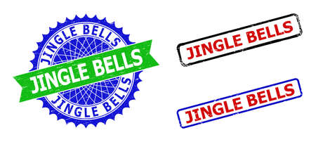 Bicolor JINGLE BELLS stamps. Blue and green JINGLE BELLS badge with sharp rosette and ribbon elements. Rounded rough rectangular framed JINGLE BELLS seal stamps in red, blue, black colors,