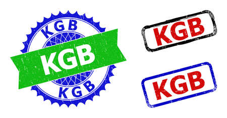 Bicolor KGB stamps. Green and blue KGB seal stamp with sharp rosette and ribbon. Rounded rough rectangular framed KGB stamps in red, blue, black colors, with grunge surface.