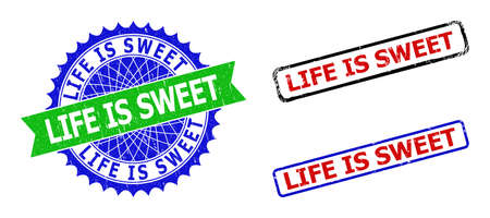 Bicolor LIFE IS SWEET stamps. Green and blue LIFE IS SWEET seal with sharp rosette and ribbon elements. Rounded rough rectangle framed LIFE IS SWEET seal stamps in red, blue, black colors,